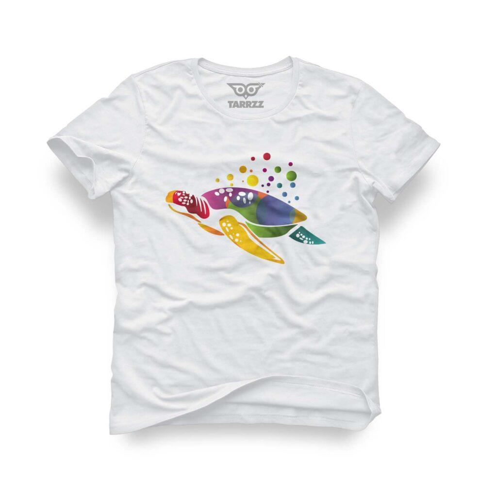 tarrzz-tasarim-beyaz-tisort-renkli-kaplumbaga