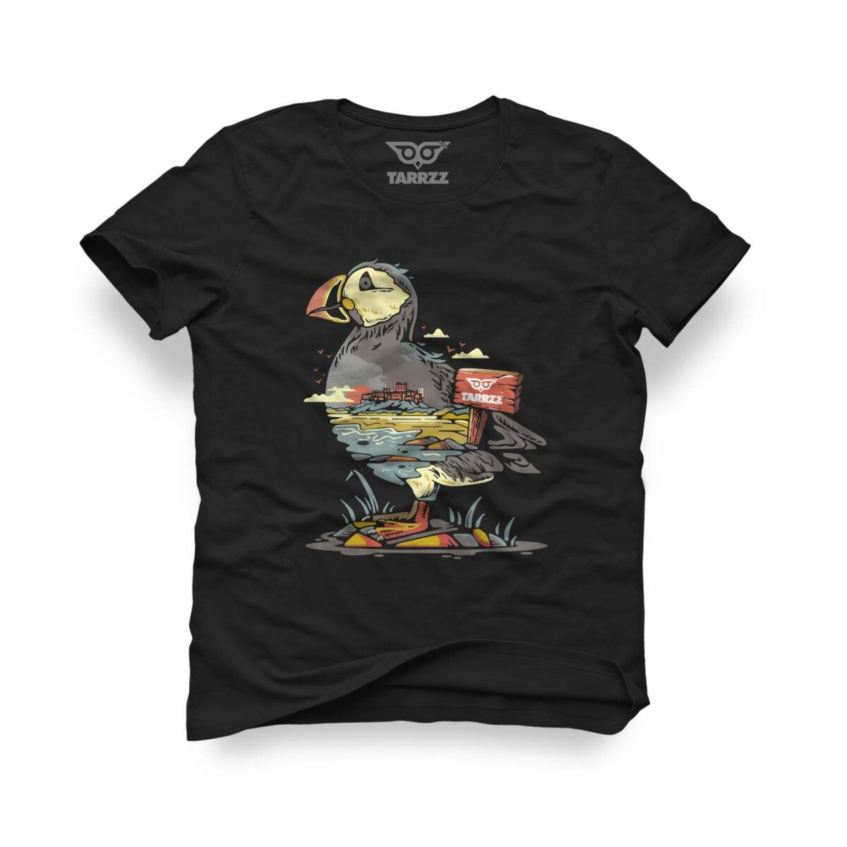 tarrzz-tasarim-siyah-tisort-flamingo