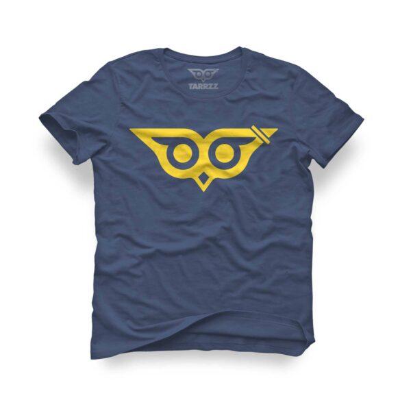 tarrzz-tasarim-indigo-mavi-tisort-facali-baykus-logo