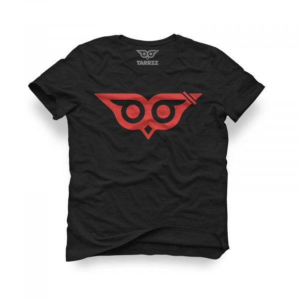 tarrzz-tasarim-siyah-tisort-facali-baykus-logo