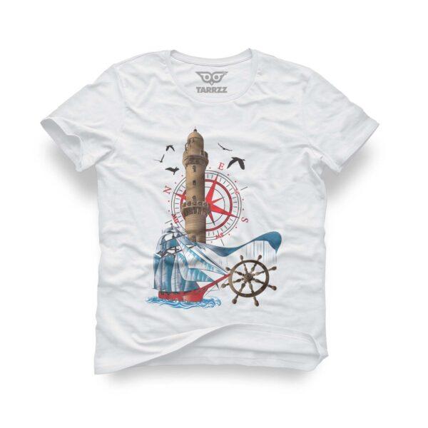 tarrzz-tasarim-beyaz-tisort-deniz-feneri-ve-yelkenli