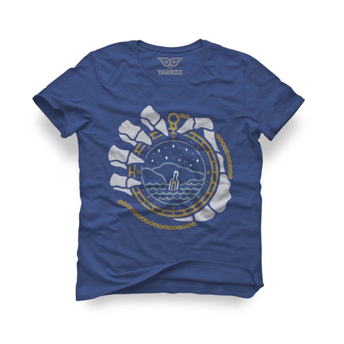 tarrzz-tasarim-marine-mavi-tisort-iskelet-ve-pusula