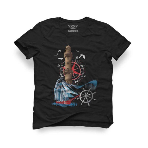 tarrzz-tasarim-siyah-tisort-deniz-feneri-ve-yelkenli