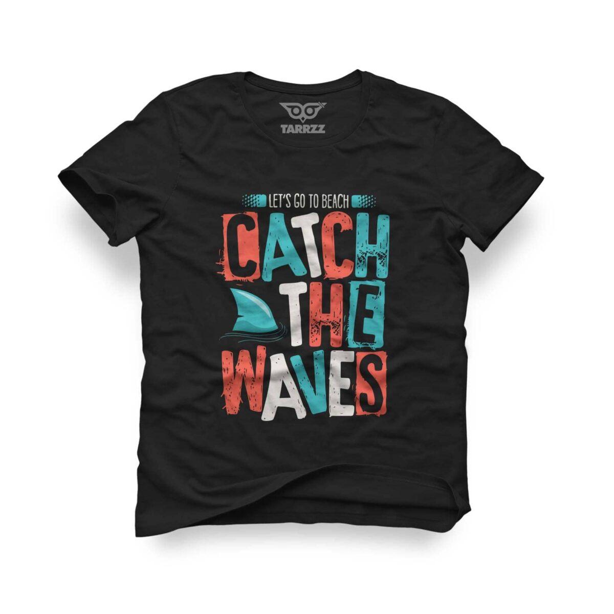 tarrzz-tasarim-siyah-tisort-catch-the-waves