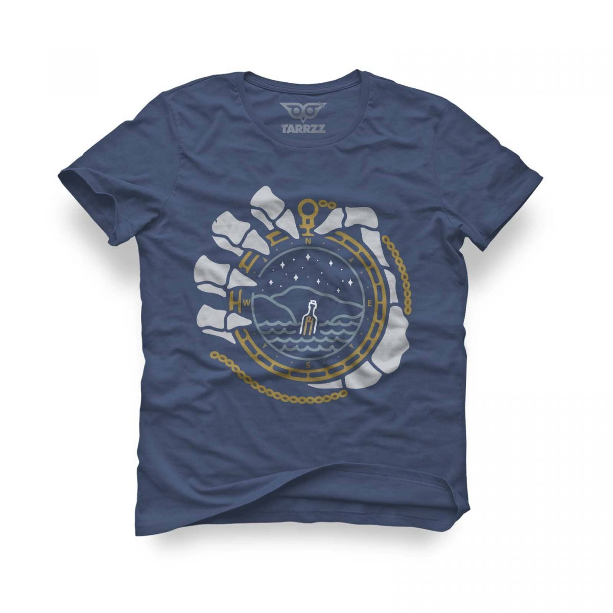 tarrzz-tasarim-indigo-mavi-tisort-pusula-ve-iskelet
