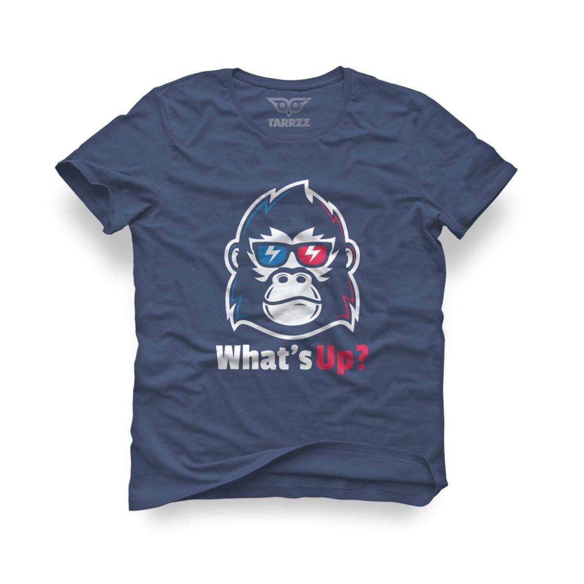 tarrzz-tasarim-indigo-mavi-tisort-whats-up-monkey
