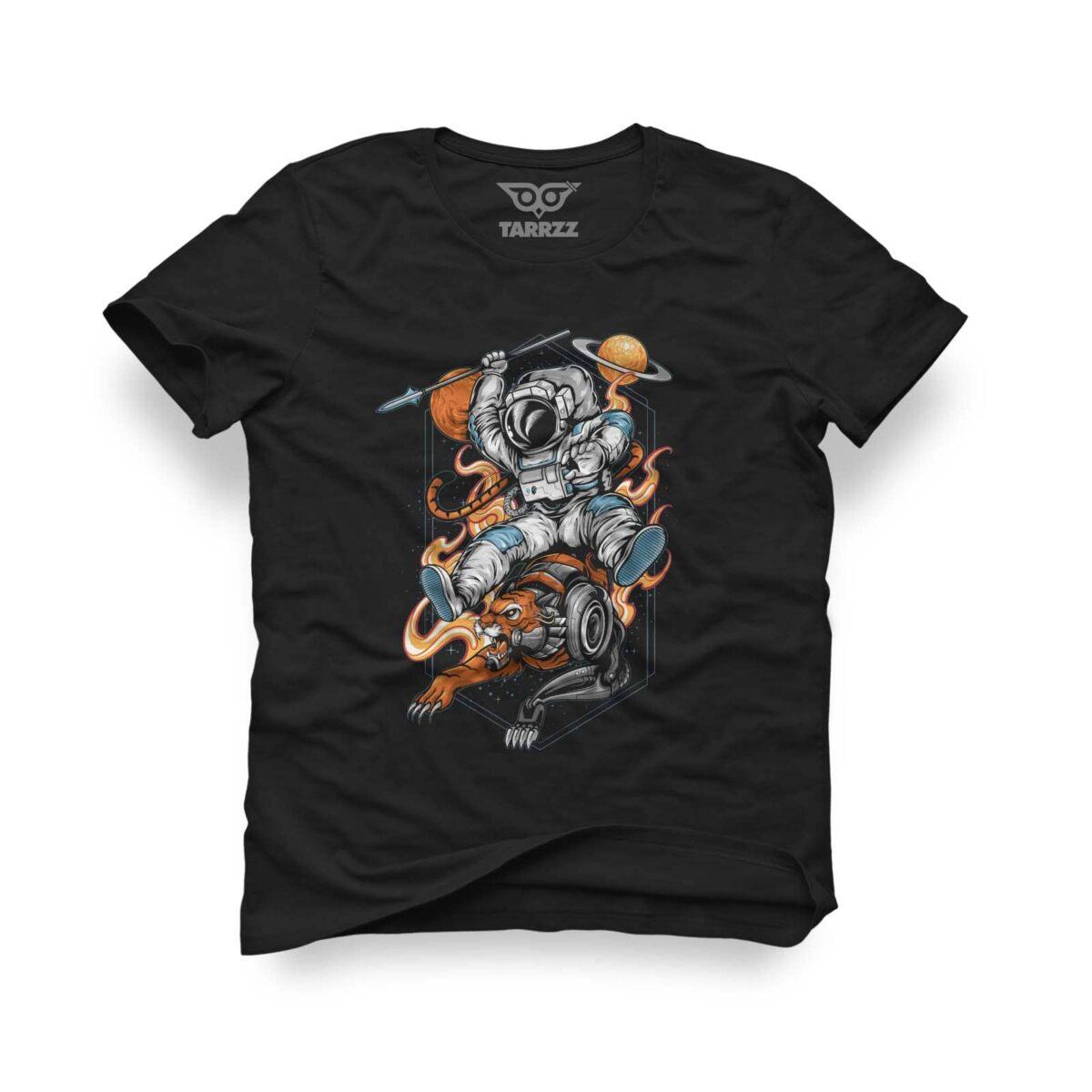 tarrzz-tasarim-siyah-tisort-aslanli-astronot